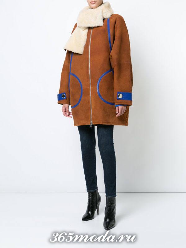 лук с дубленкой оверсайз и брюками осень-зима
