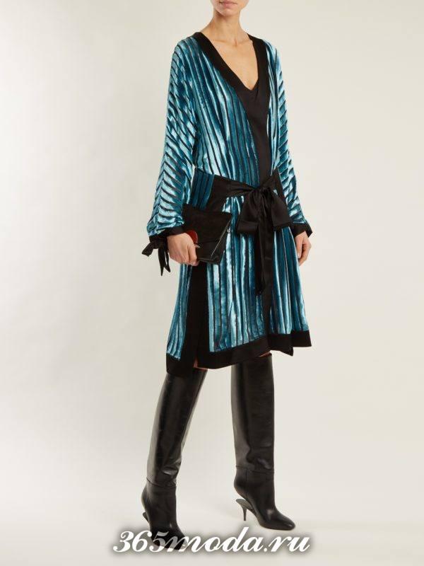 лук с блестящим миди платьем с поясом осень-зима
