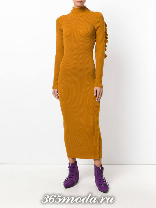 лук с горчичным вязаным макси платьем осень-зима