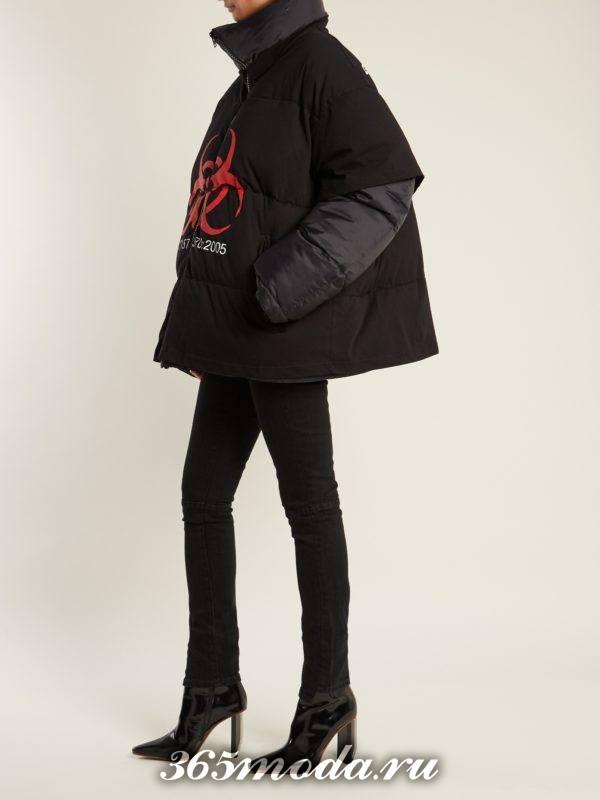 лук с короткой курткой оверсайз и ботинками на каблуке осень-зима