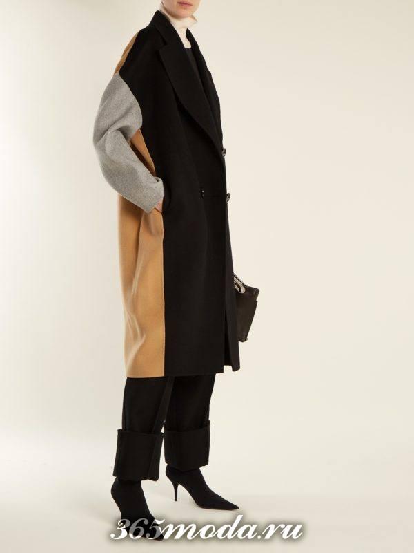 лук комбинированным пальто и брюками осень-зима