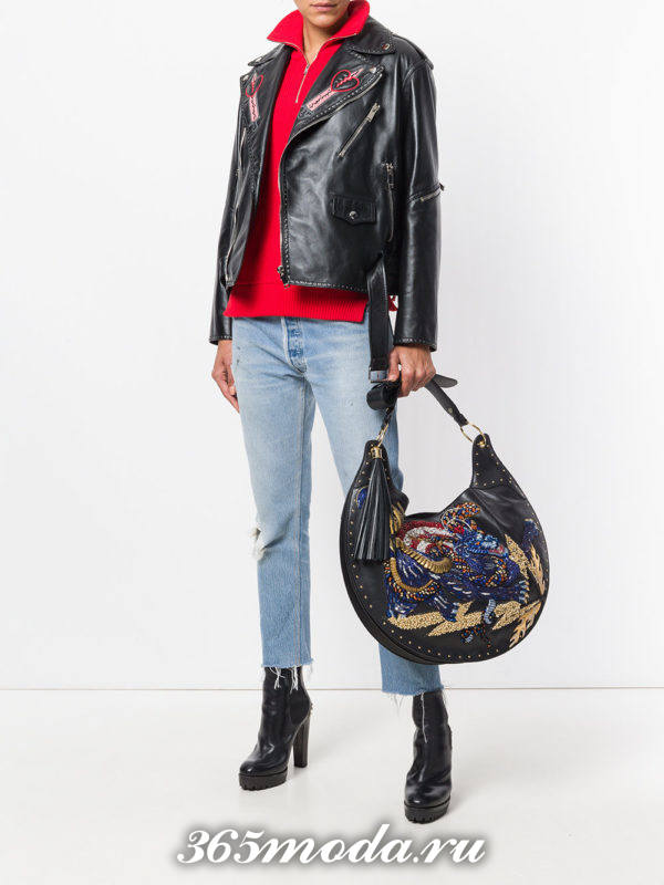 большая круглая сумка с узором