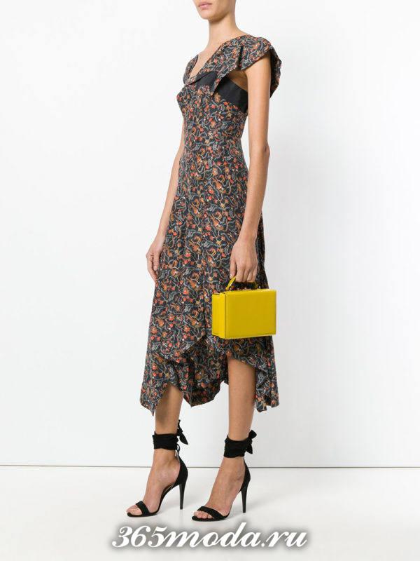 желтая сумка-коробка с короткими ручками