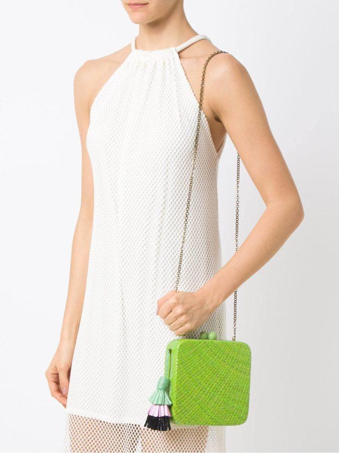 зеленая ретро сумка на цепочке