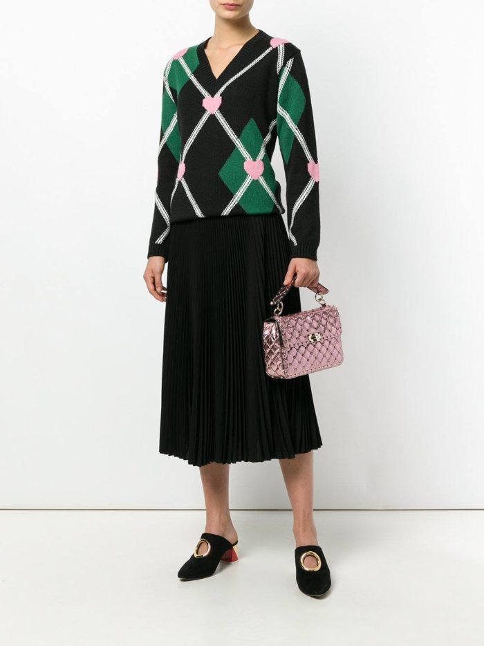 блестящая сумка с рельефной фактурой