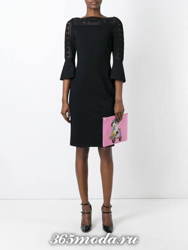 розовая сумка без ремешков с рисунком