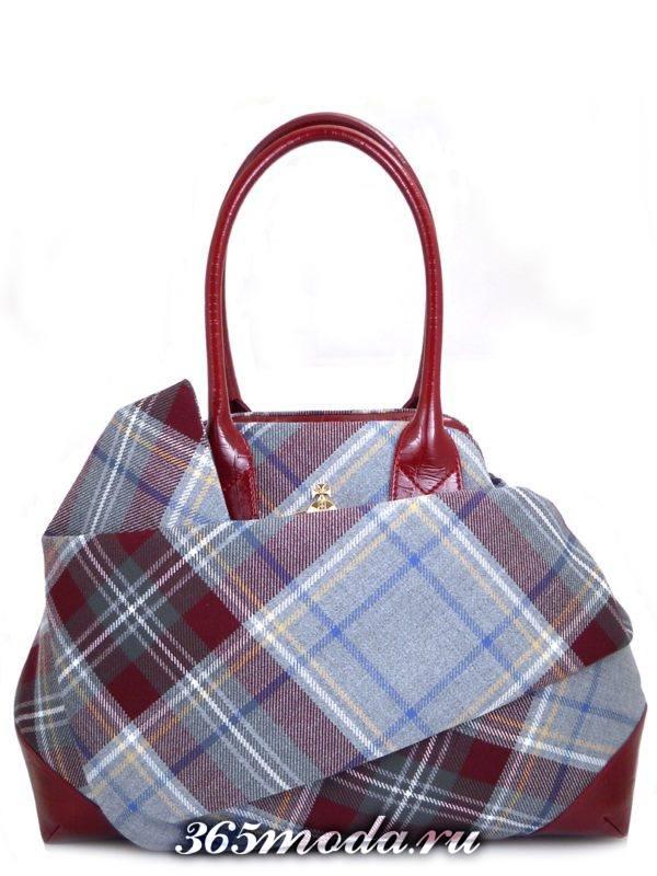 сумка в шотландскую клетку модная