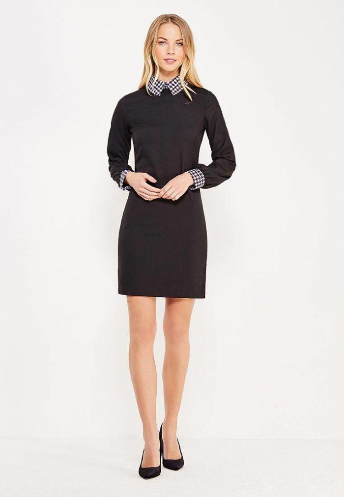 классическое черное мини платье с воротником