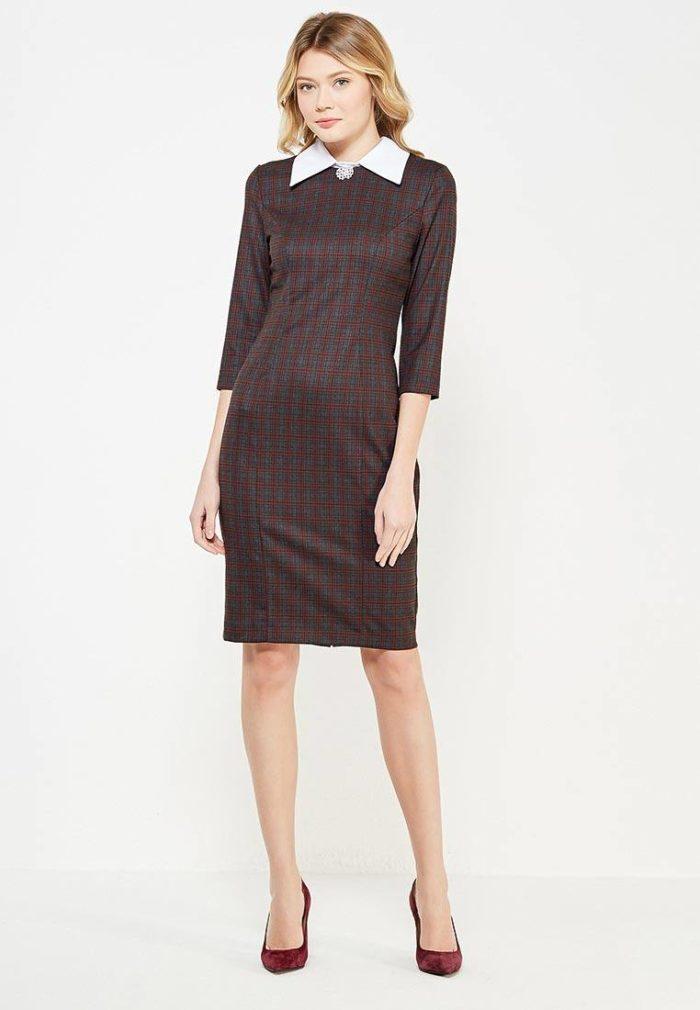 классическое платье футляр с воротником