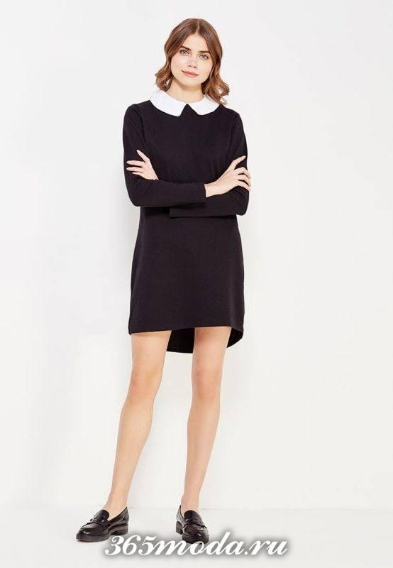 классическое короткое асимметричное платье с воротником