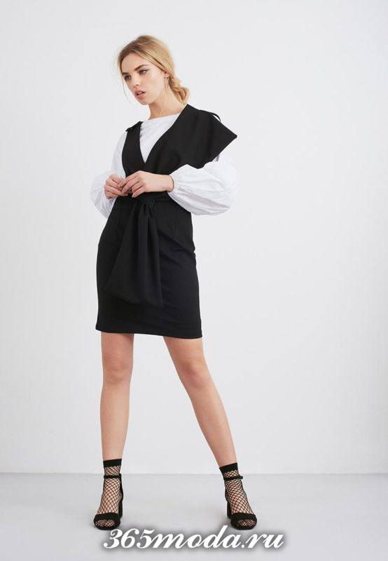 черный сарафан с белой блузой
