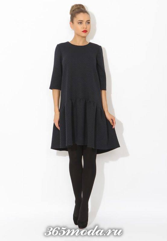модное свободное платье с укороченным рукавом