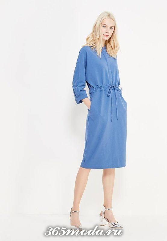модное миди платье с поясом
