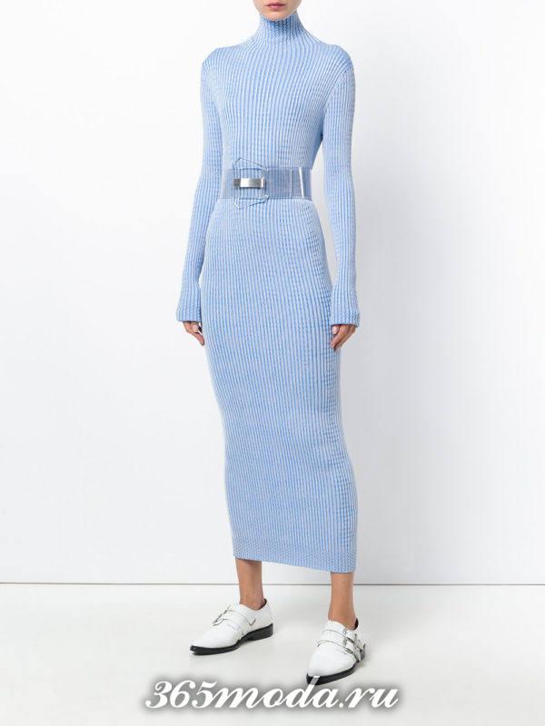 длинное голубое платье с поясом осень-зима
