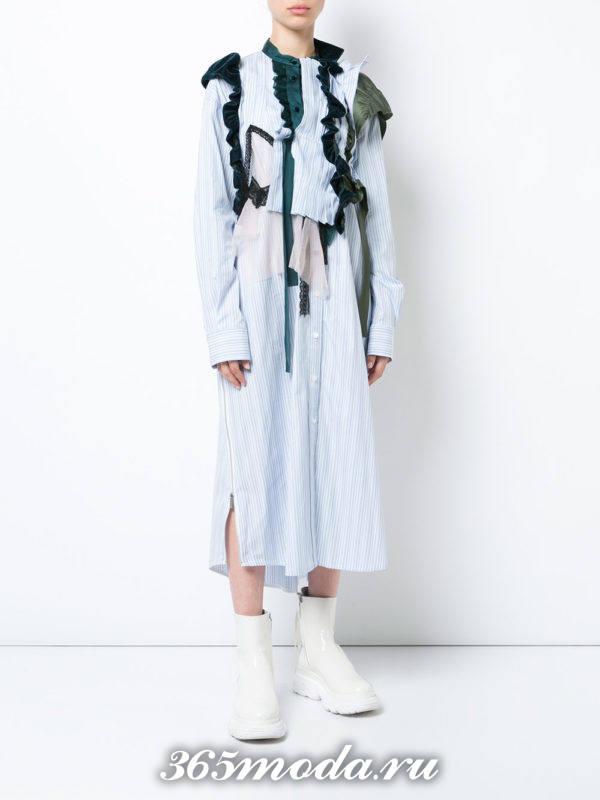 платье рубашка с декором осень-зима