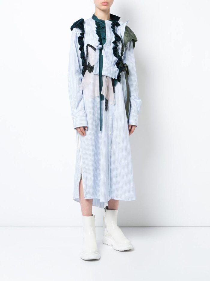 модные образы осень зима 2019-2020: платье рубашка с декором
