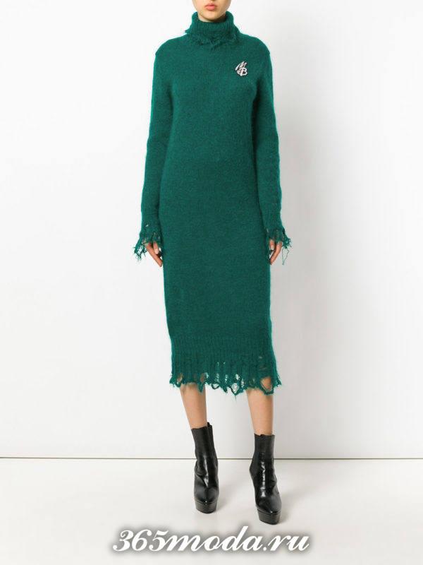 зеленое вязаное миди платье осень-зима