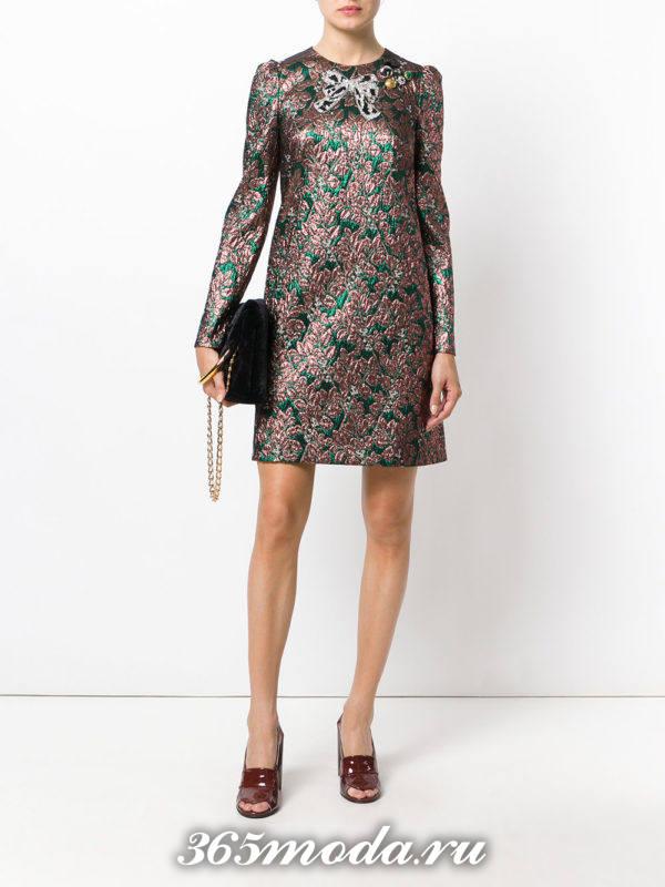 короткое платье с принтом осень-зима