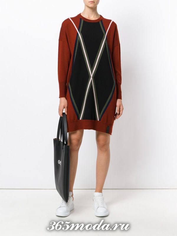 платье свитер с узором осень-зима