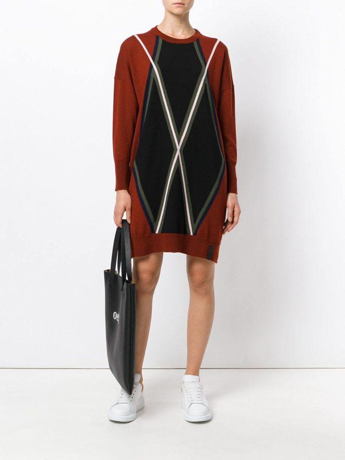 модные образы осень зима 2019-2020: платье свитер с узором