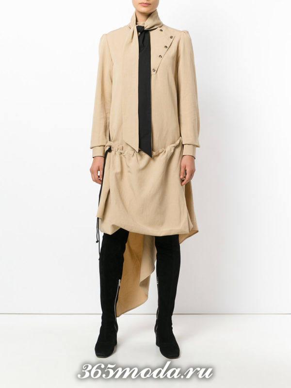 асимметричное бежевое платье рубашка осень-зима