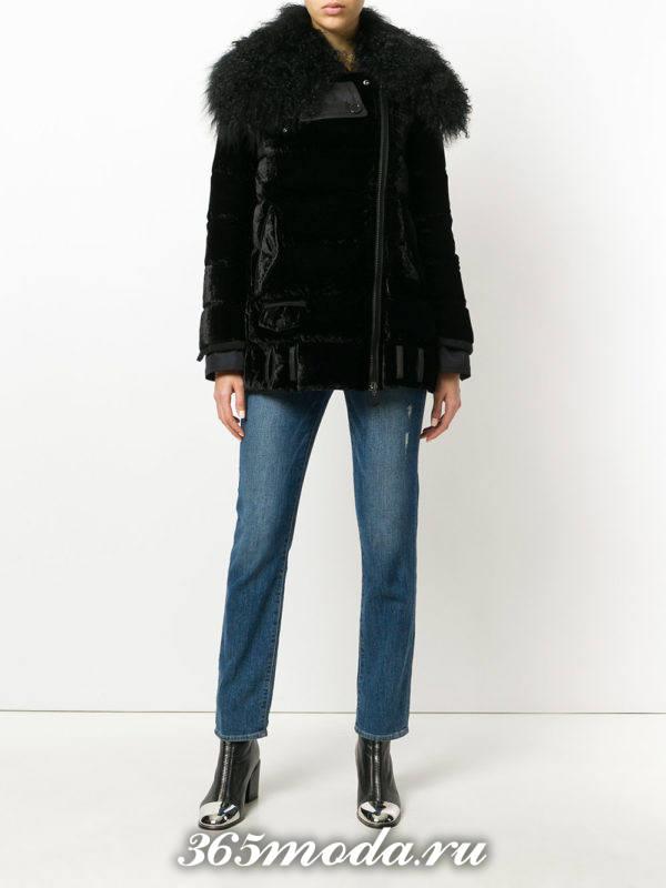 черная куртка осень-зима с мехом