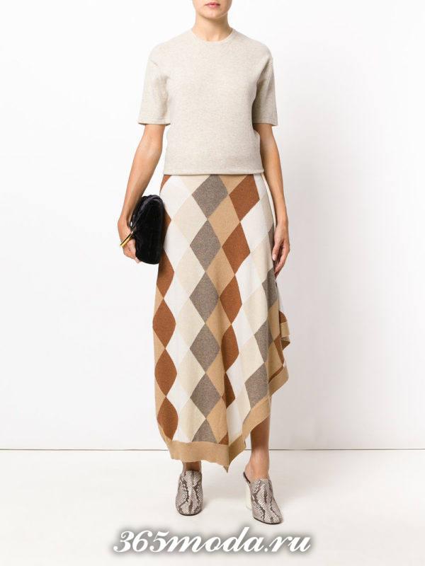 асимметричная юбка в клетку осень-зима