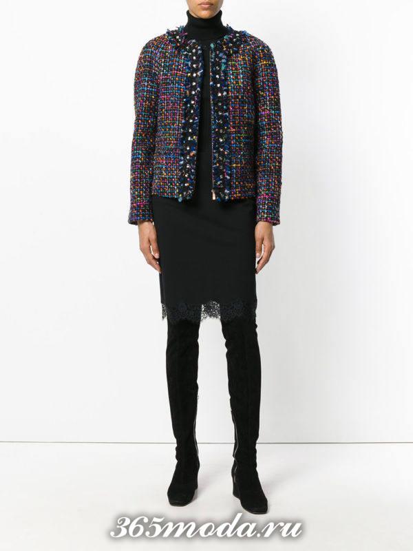 черная юбка с кружевом осень-зима