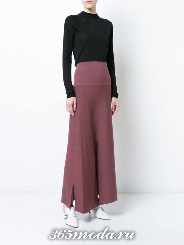 длинная розовая юбка осень-зима