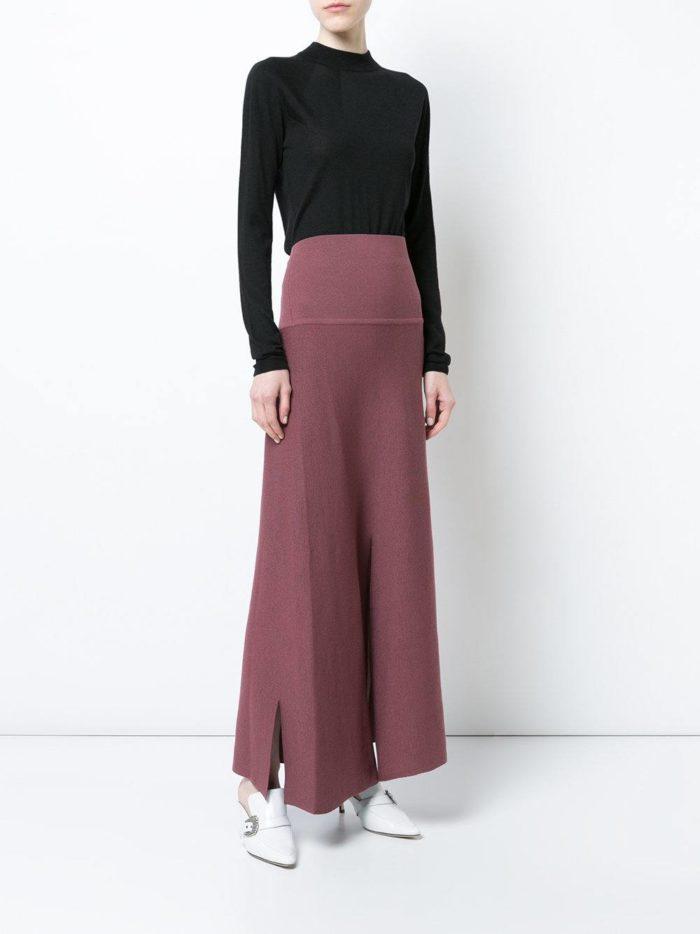 модные образы осень-зима: длинная розовая юбка