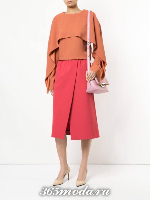 красная юбка на запах осень-зима