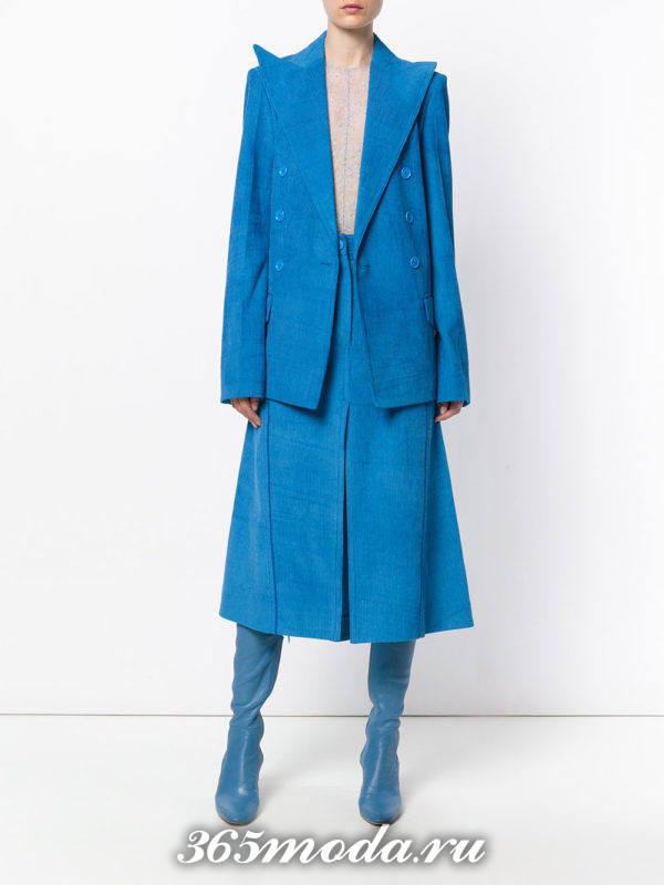 синяя замшевая юбка осень-зима