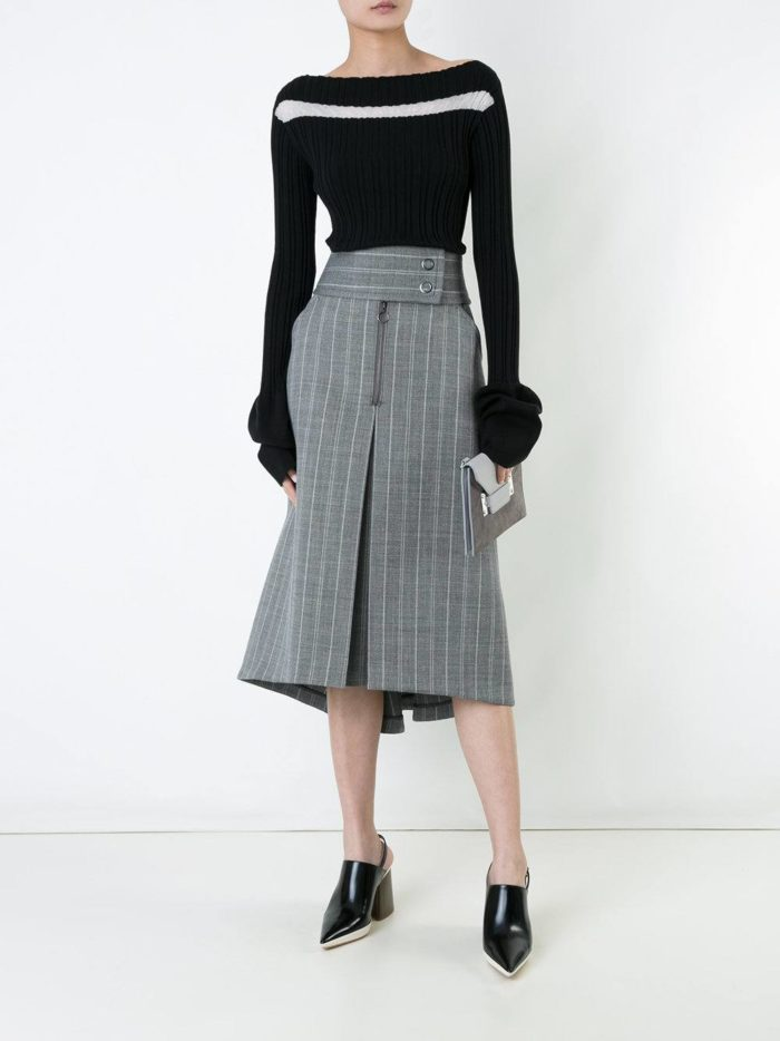 модные образы осень-зима: серая миди юбка