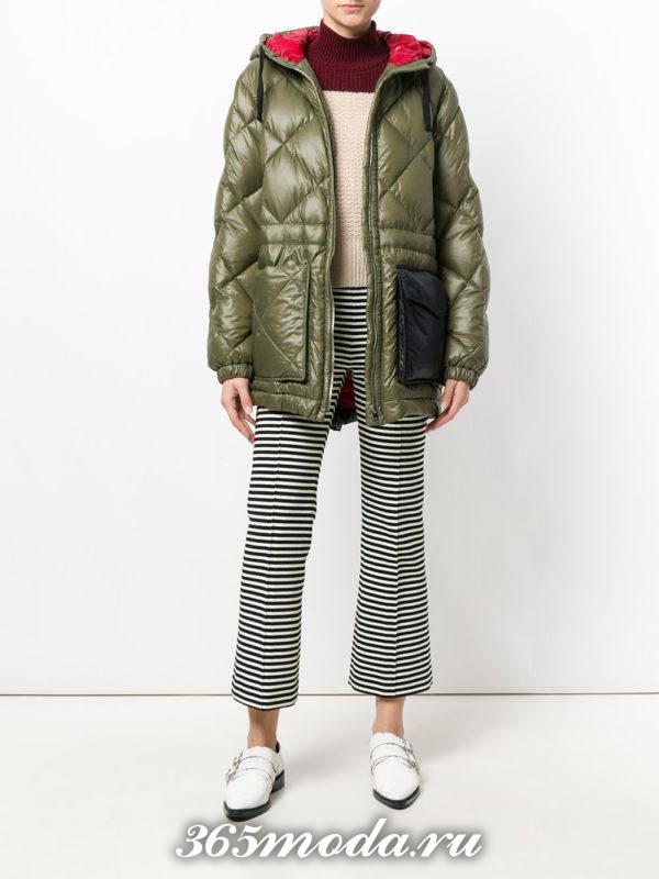 стеганая куртка осень-зима с карманами