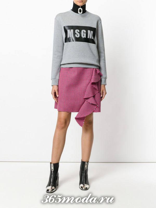 мини юбка с оборкой осень-зима