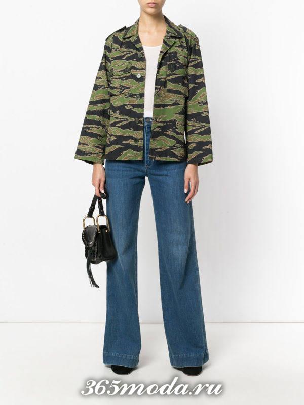 синие джинсы клеш осень-зима