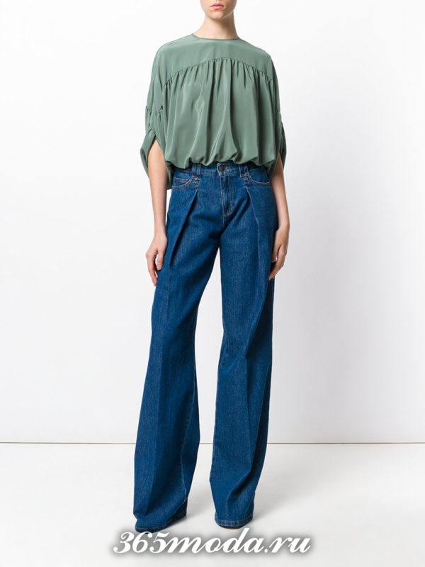 синие джинсы клеш со складкой осень-зима