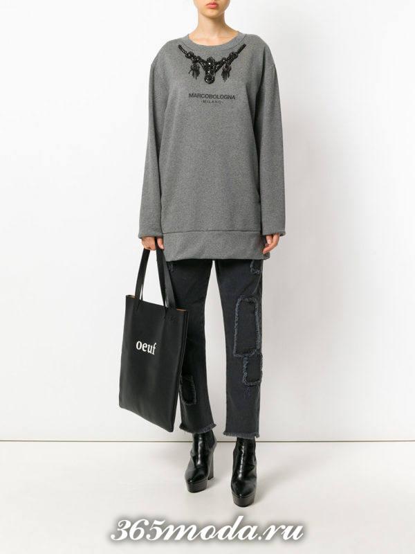 черные укороченные джинсы осень-зима