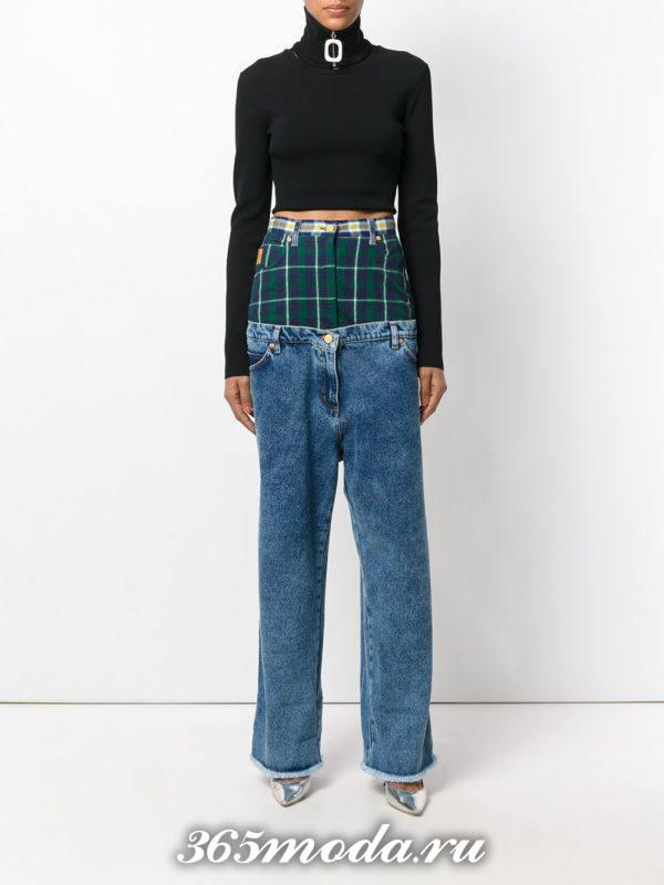 комбинированные джинсы осень-зима