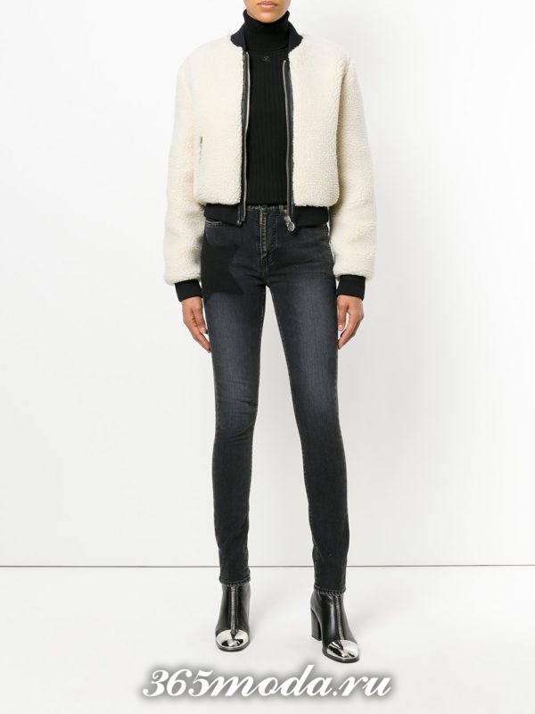 темные джинсы скинни осень-зима