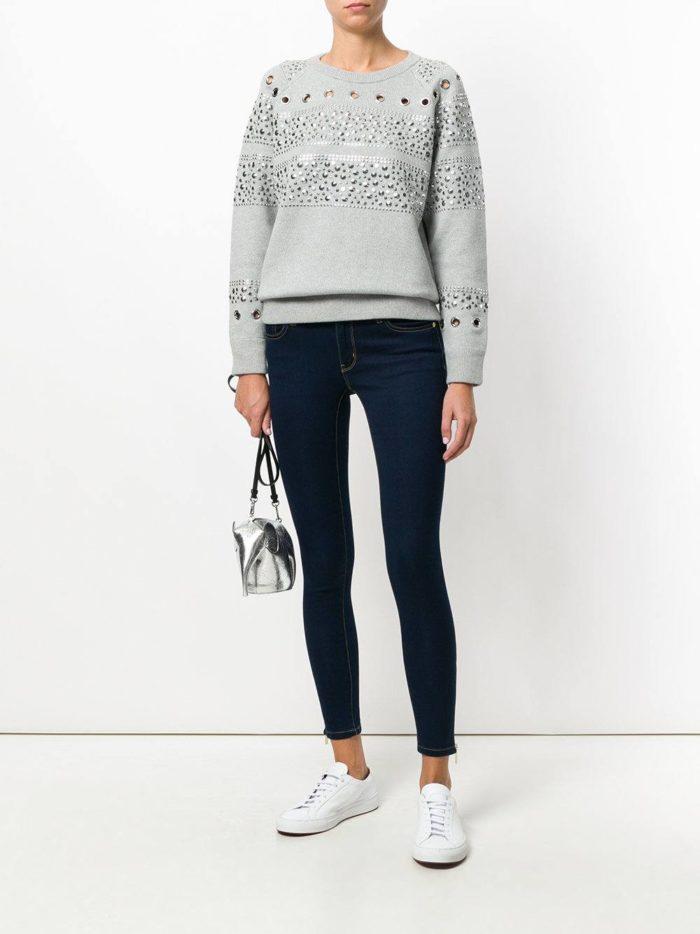 модные образы осень-зима: синие джинсы скинни