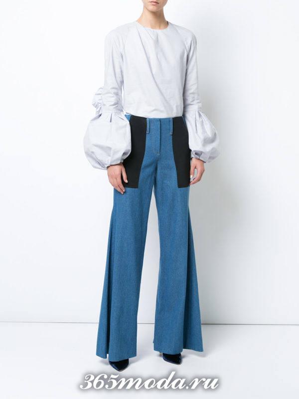 комбинированные джинсы клеш осень-зима