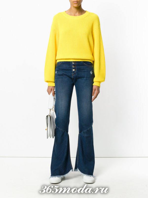 темные джинсы клеш осень-зима