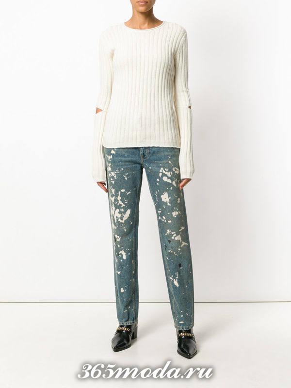 джинсы бойфренды с декором осень-зима