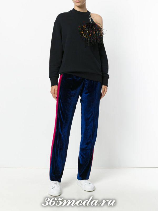 спортивные бархатные брюки осень-зима