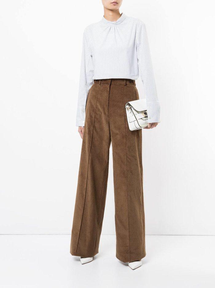 коричневые широкие брюки осень-зима