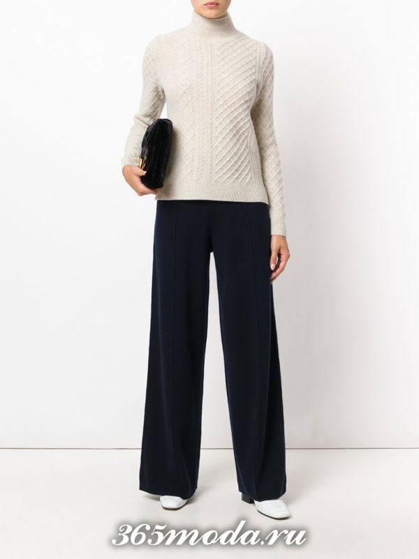темные широкие брюки осень-зима