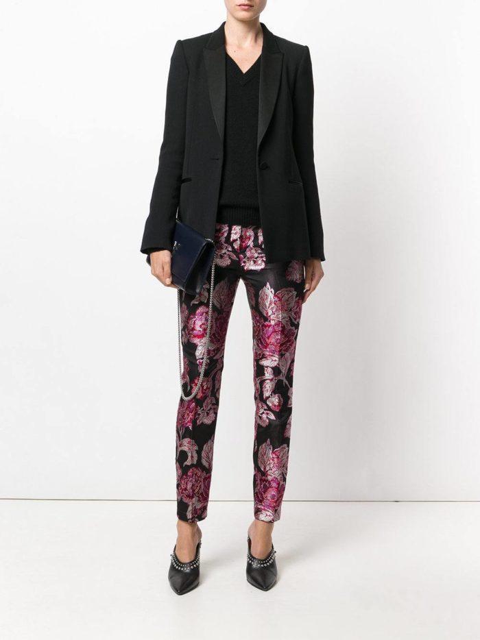 брюки дудочки с принтом осень-зима