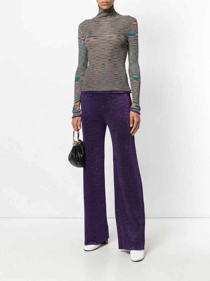 фиолетовые брюки клеш осень-зима