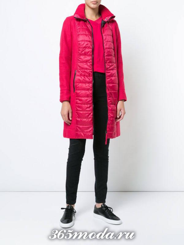 комбинированное розовое пальтоосень-зима